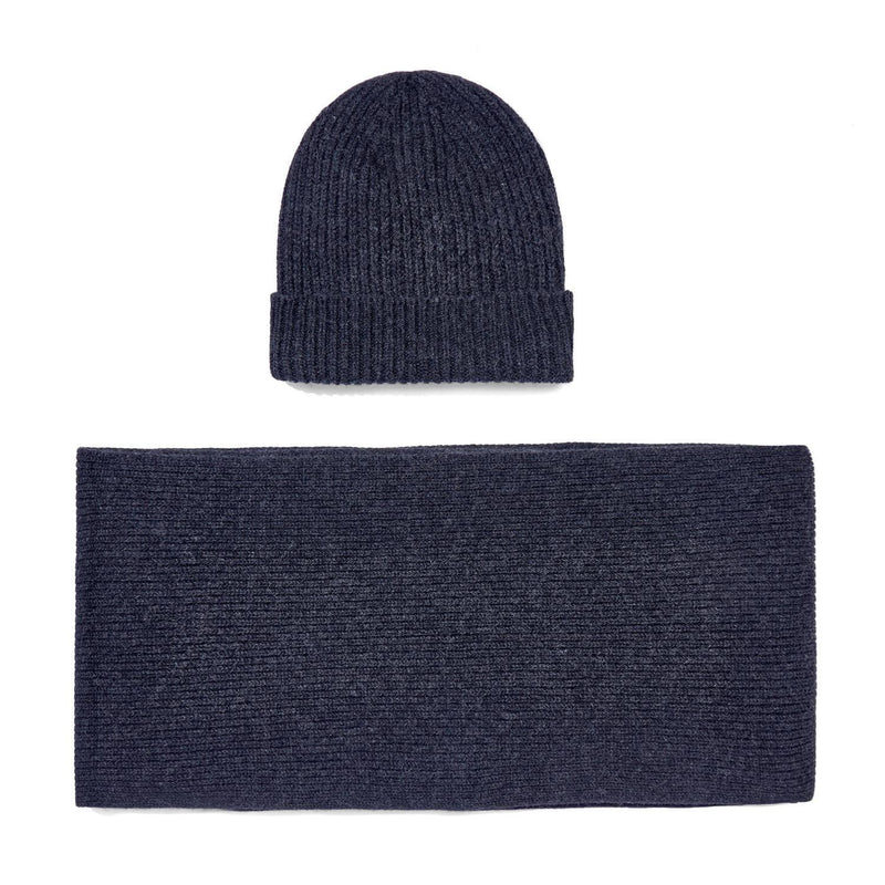 charcoal knitted cashmere ribbed beanie and scarf gift set