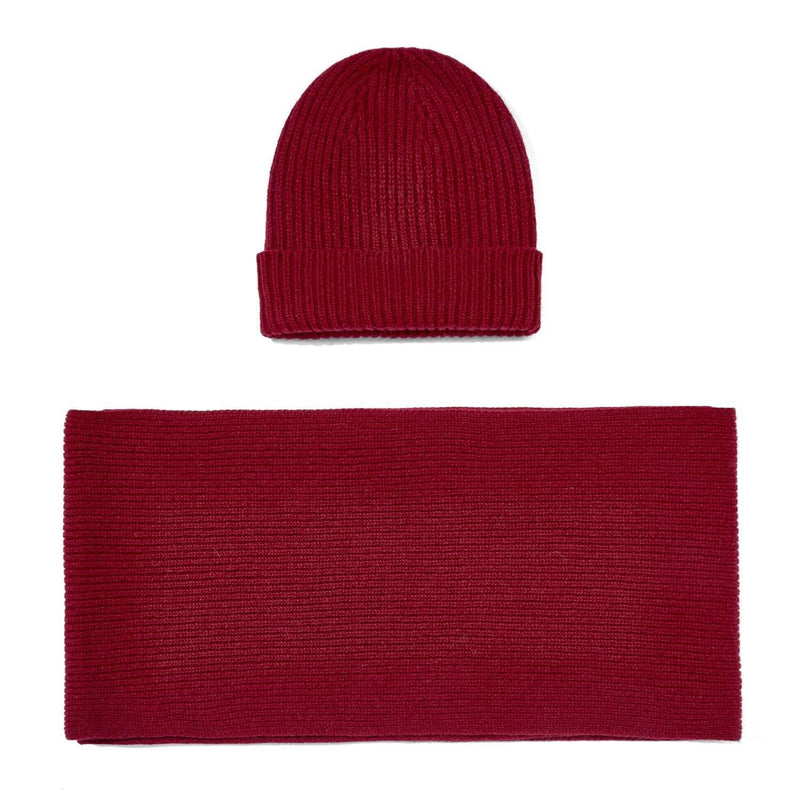 red knitted cashmere ribbed beanie and scarf gift set