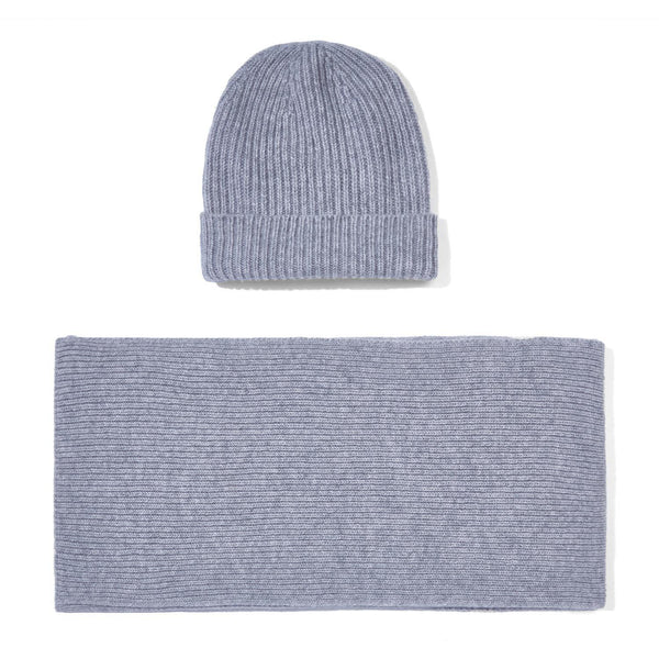grey knitted cashmere ribbed beanie and scarf gift set