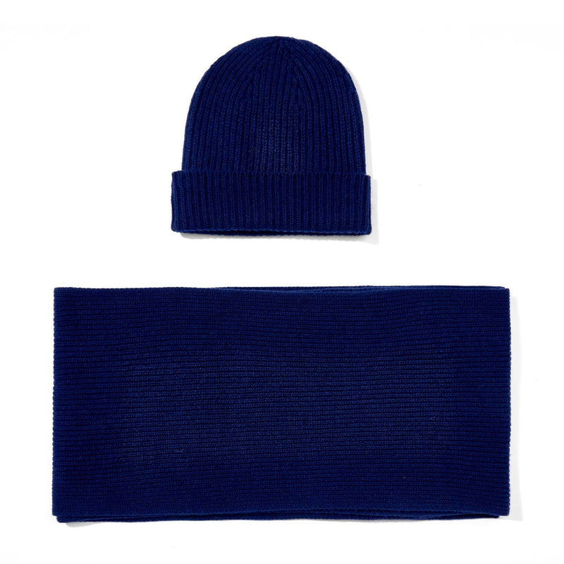navy knitted cashmere ribbed beanie and scarf gift set