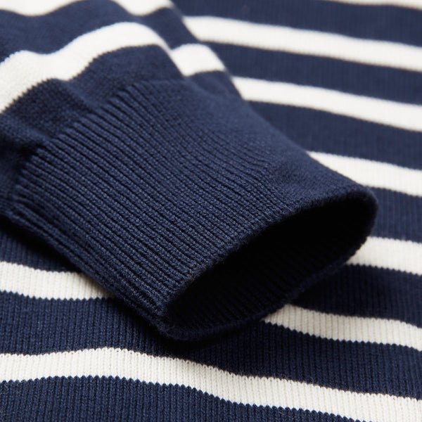 100% COTTON STRIPED BRETON JUMPER - Paul James Knitwear-sleeve