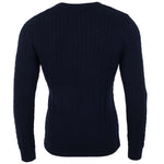 navy blue mens luxury cable cotton jumper