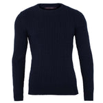 navy blue mens luxury cotton cable sweater