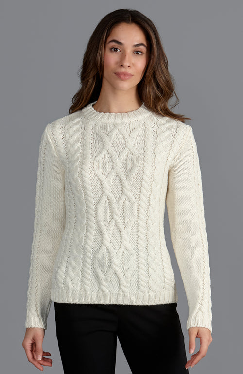 womens cream warm winter merino wool chunky cable sweater