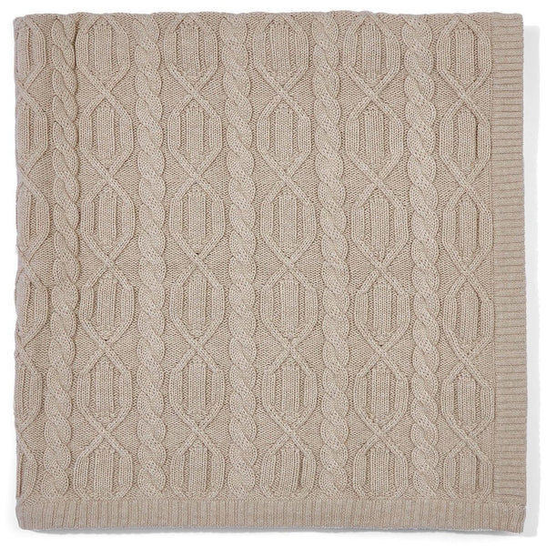 beige chunky cotton cable blanket