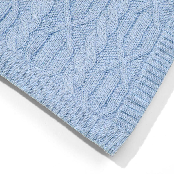 blue chunky ribbed baby blanket