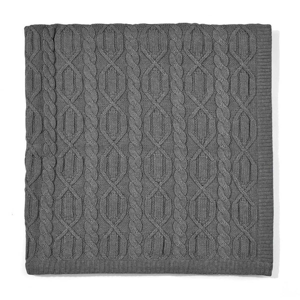 charcoal chunky cotton ribbed baby blanket