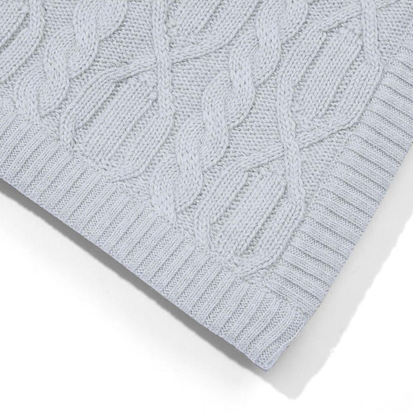 grey chunky cotton ribbed baby blanket