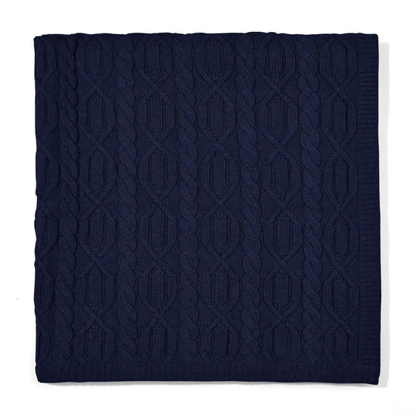 navy chunky cotton ribbed baby blanket