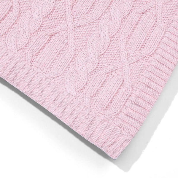 pink chunky cotton ribbed baby blanket