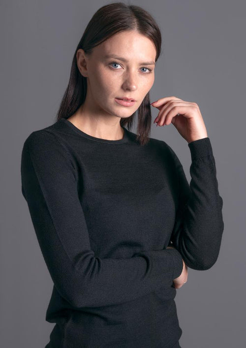 womens black round neck merino wool jumper