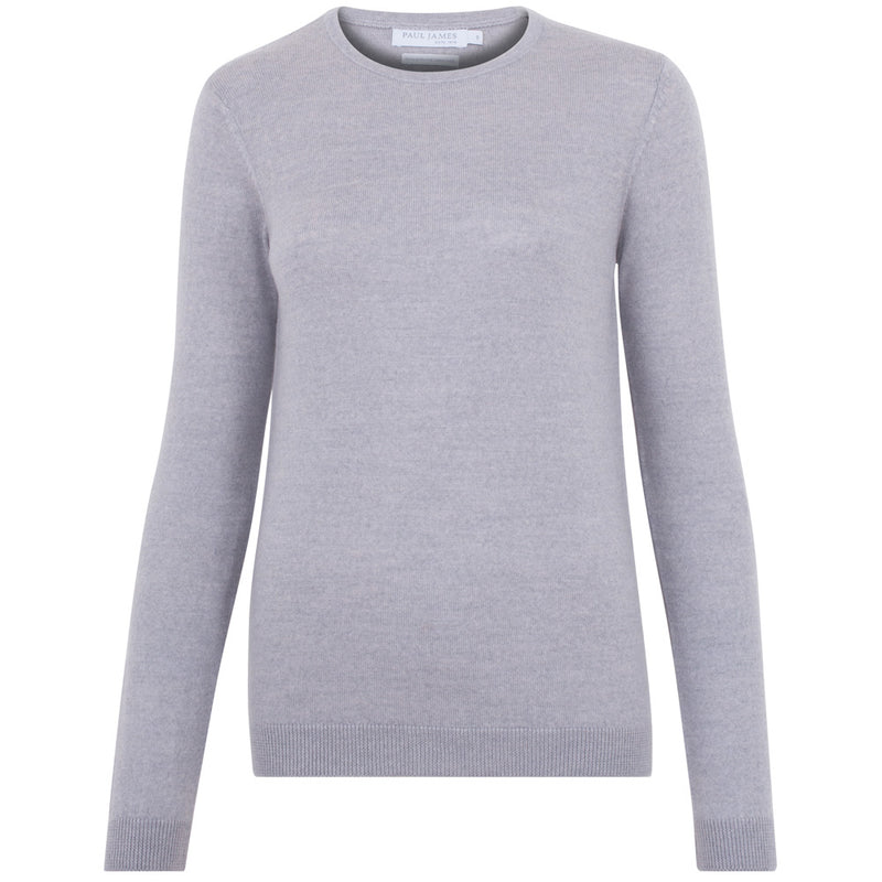womens grey lightweight fine knit merino wool jumper