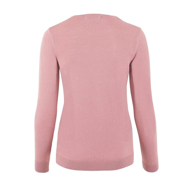 womens pink merino wool round neck jumper back