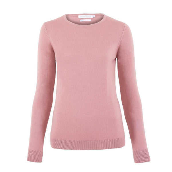 womens pink merino wool round neck jumper