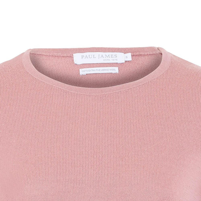 womens pink merino wool round neck jumper neck