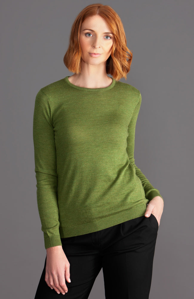 womens green extra fine knit merino wool jumper