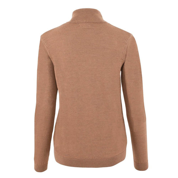 womens camel roll neck merino wool jumper back