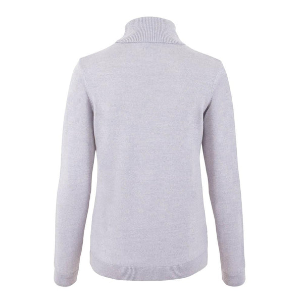 womens light grey merino wool round neck jumper back