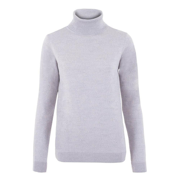 womens light grey merino wool round neck jumper front