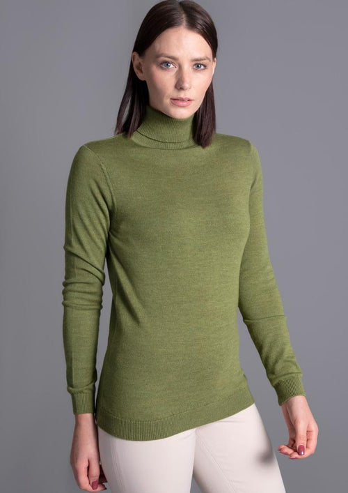 womens green merino roll neck jumper
