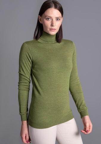 Womens Pure Cotton Roll Neck Long Sleeve Jumper