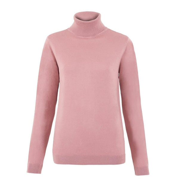 womens pink merino wool roll neck jumper front