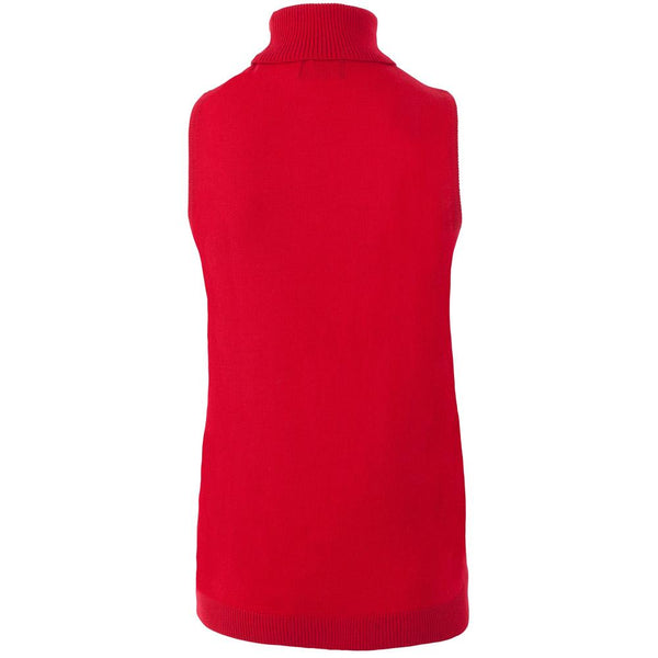 womens red merino wool sleeveless roll neck jumper