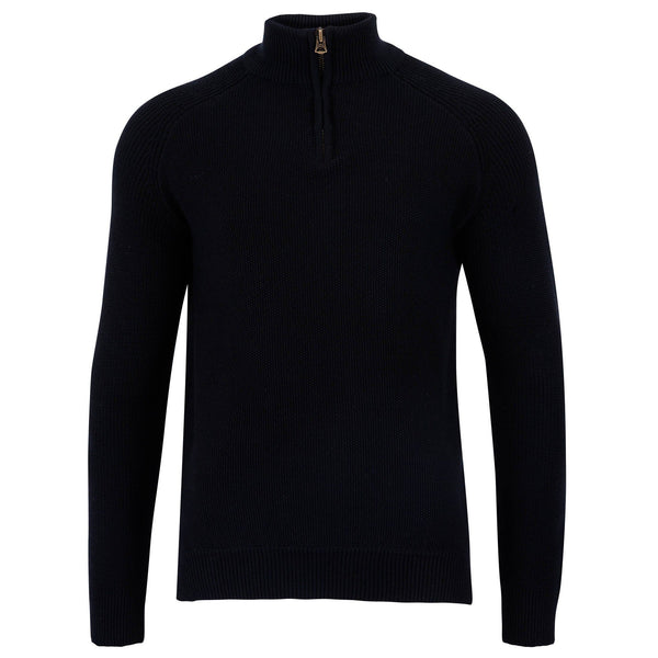 mens 100% cotton black jumper with zip neck