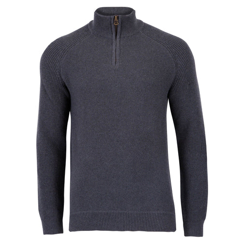 Mens charcoal 100% cotton pullover with quarter zip