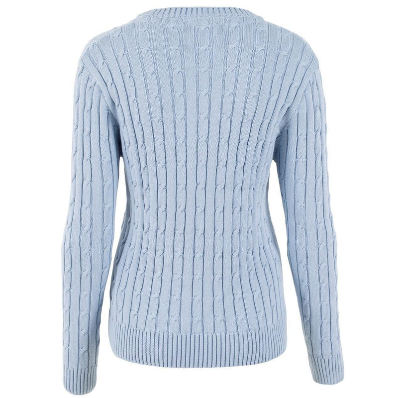 blue womens cotton cable jumper back