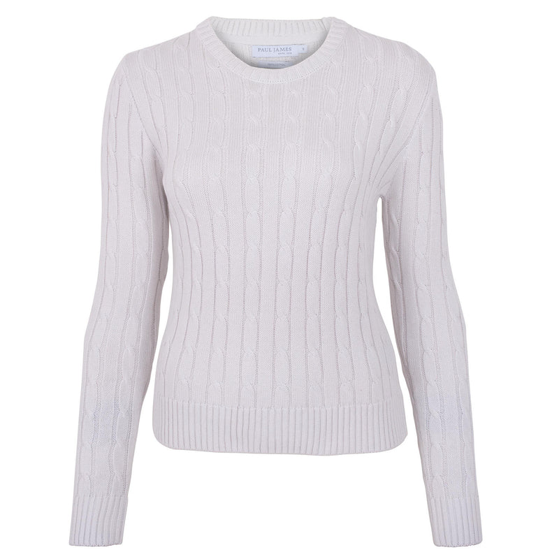 white round neck womens cotton cable jumper