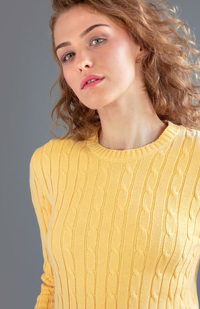 womens soft yellow cotton cable jumper