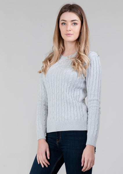 WOMENS COTTON CABLE JUMPER