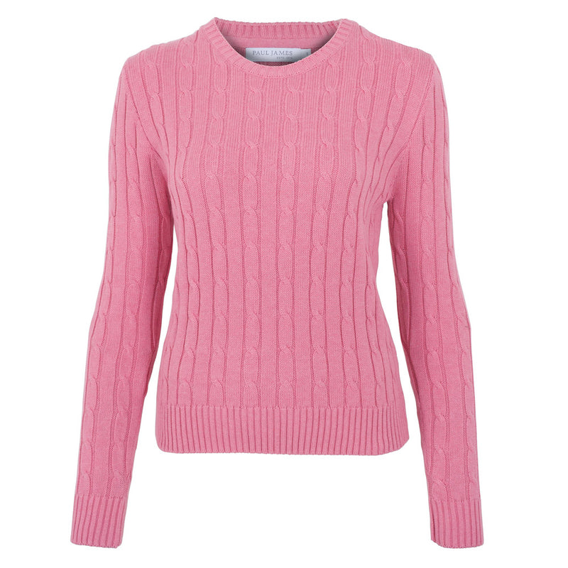 starlet pink womens cotton cable jumper