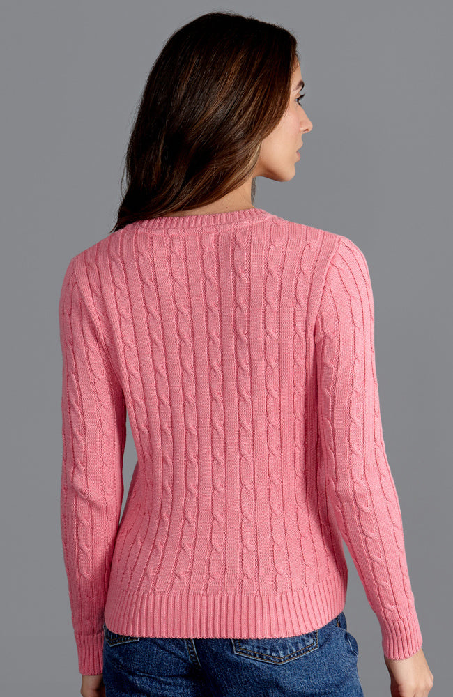 starlet pink round neck womens cotton cable jumper