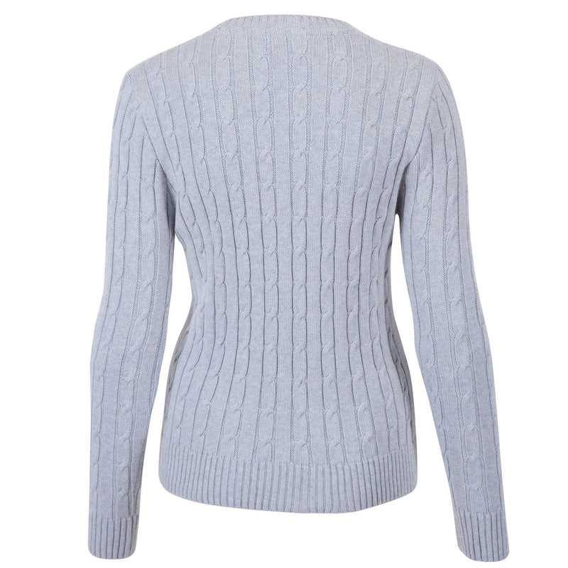 womens light grey cotton cable jumper back