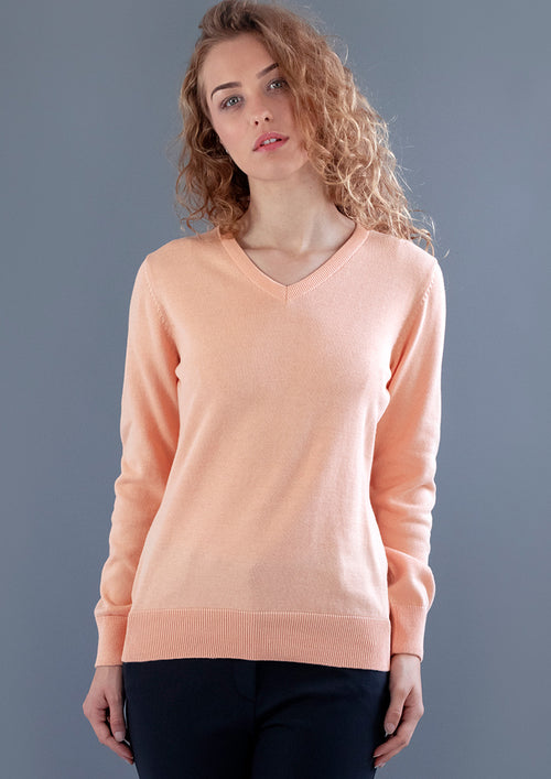 Apricot V Neck womens cotton fine knit jumper