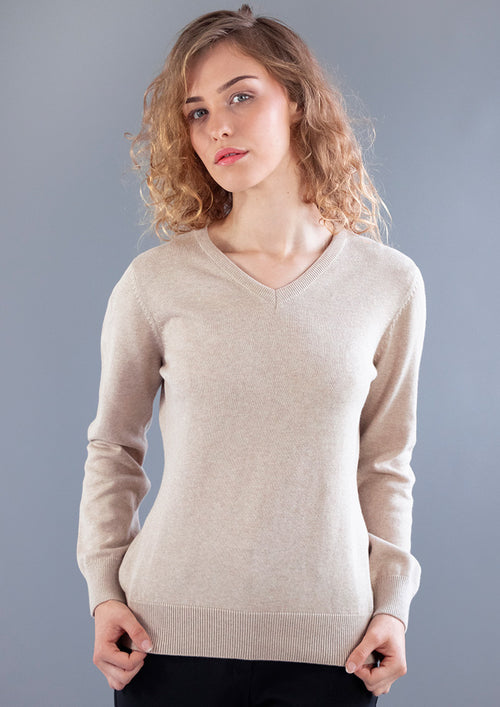 womens beige cotton v neck jumper