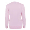 ladies pink v neck sweater back