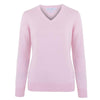 ladies pink v neck cotton jumper front