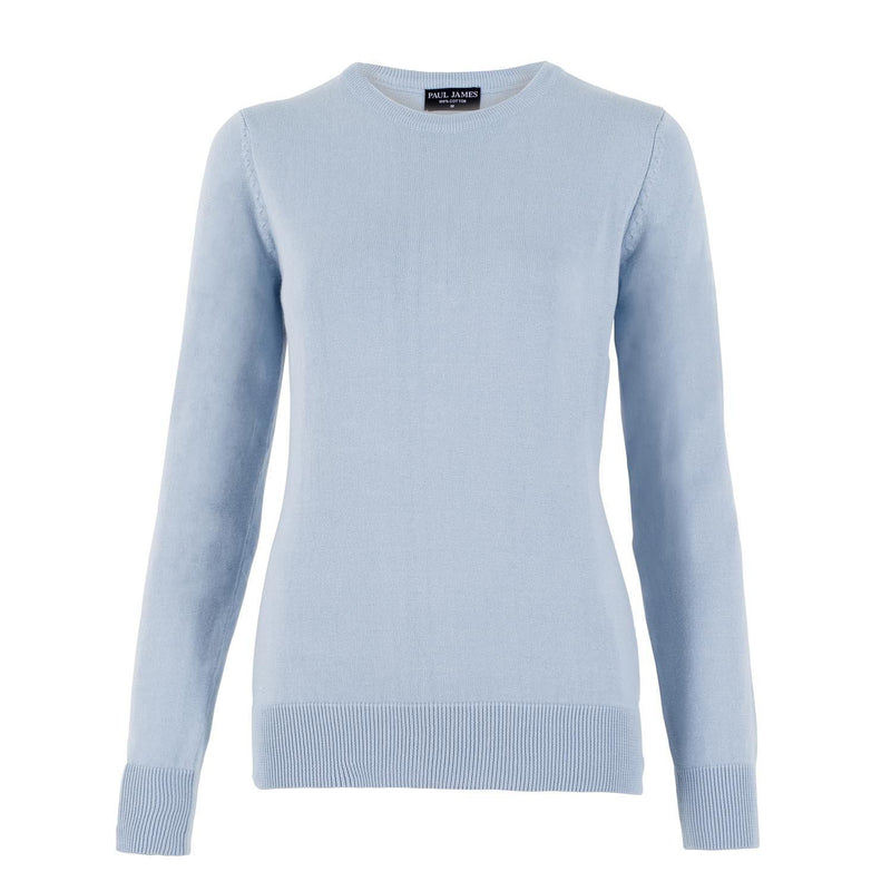 blue womens cotton crew neck jumper front