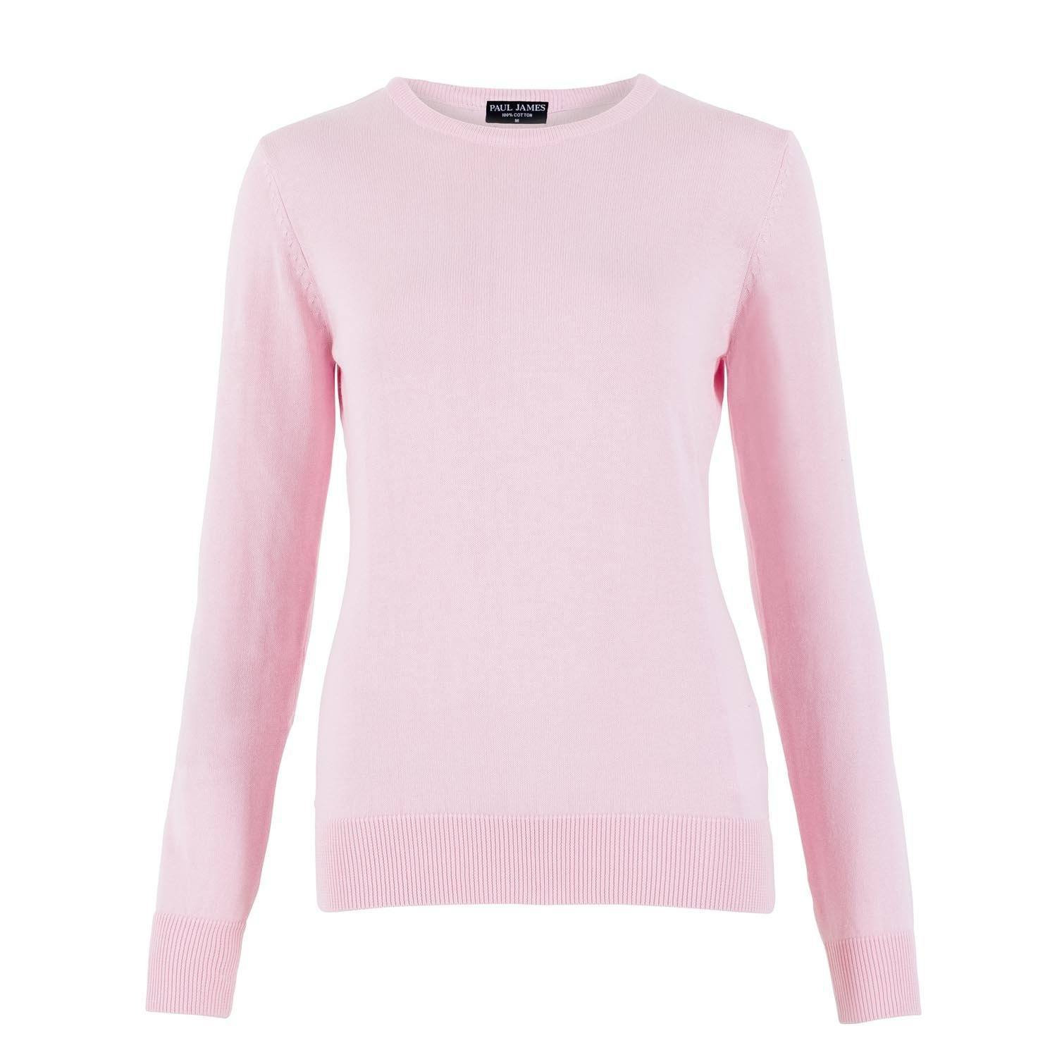 d06c13565fc9 Womens Pure Cotton Crew Neck Jumper – Paul James Knitwear