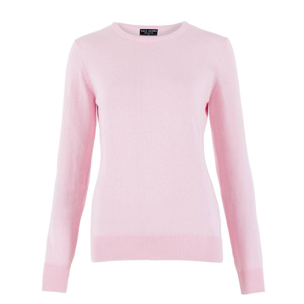 pink womens cotton crew neck jumper front