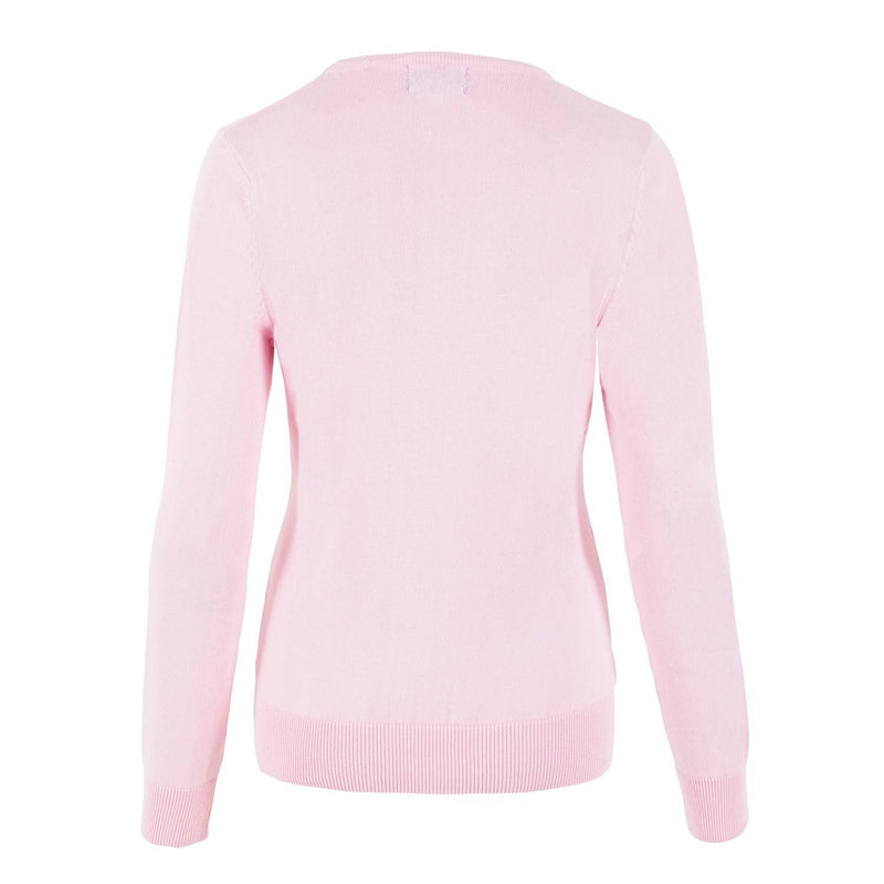 pink womens cotton crew neck jumper back