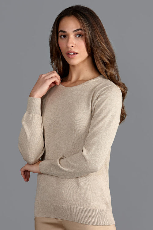 womens quality thin beige round neck cotton jumper