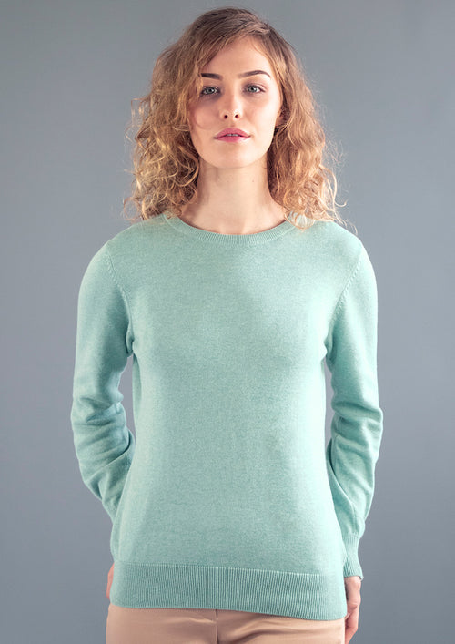 womens mint green cotton round neck jumper