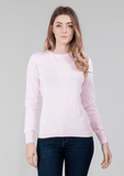 WOMENS PINK COTTON CABLE JUMPER