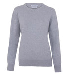 women's round neck silver grey sweater