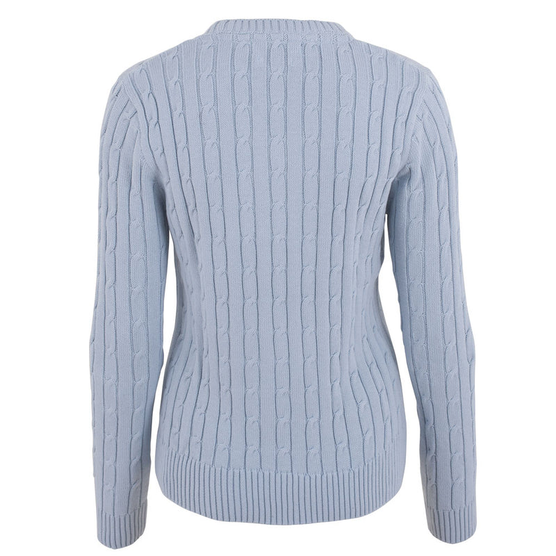ladies light blue cotton cable sweater back