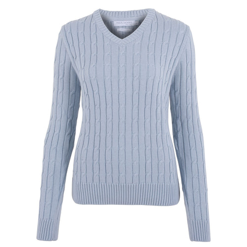 ladies light blue cotton cable sweater front